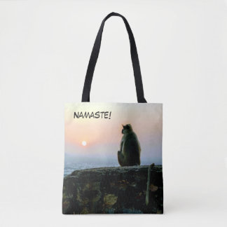 Namaste Meditation Yoga Monkey in India at Sunset Tote Bag