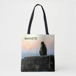Namaste Meditation Yoga Monkey in India at Sunset