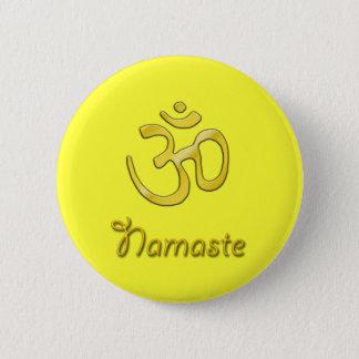 Namaste Om yellow button solar plexus chakra