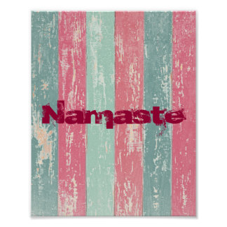 Namaste on Grunge Stripes Poster