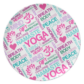 Namaste, Peace and Harmony Pink YOGA Pattern Dinner Plate