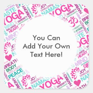 Namaste, Peace and Harmony Pink YOGA Pattern Square Sticker