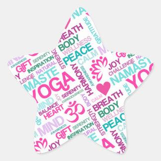 Namaste, Peace and Harmony Pink YOGA Pattern Star Sticker