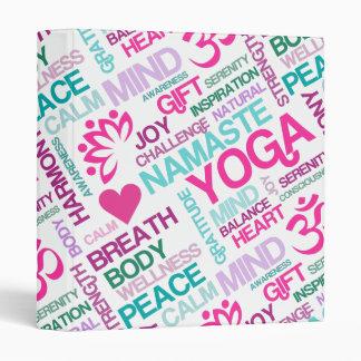 Namaste, Peace and Harmony Pink YOGA Pattern Vinyl Binders