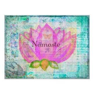 Namaste PINK LOTUS Peaceful Art Poster