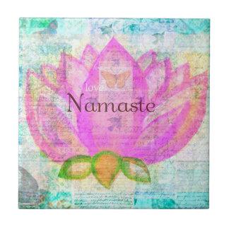 Namaste PINK LOTUS Peaceful Art Tile