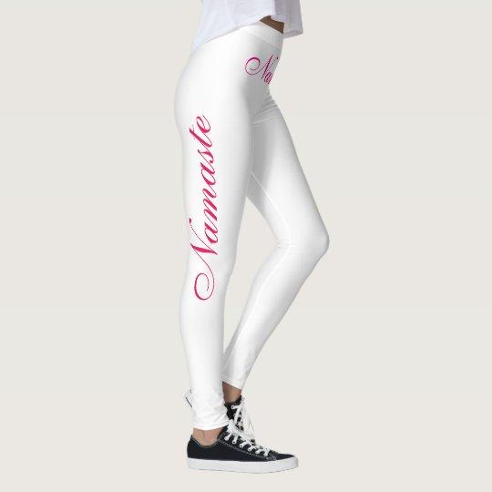 namaste pink on white leggings