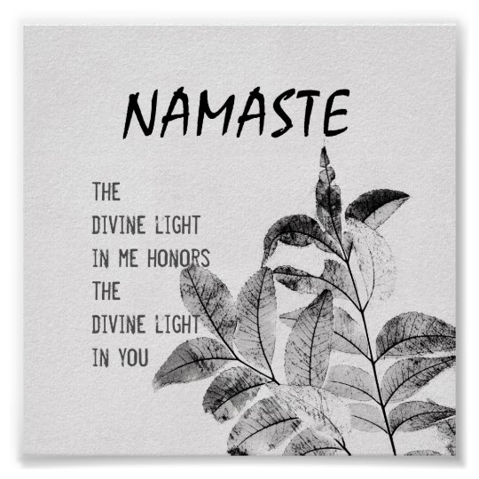 Namaste quote poster nature art print