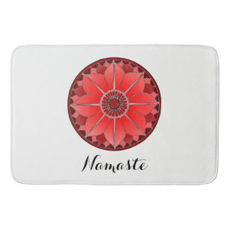NAMASTE Red Flower Spiritual Lotus Mandala Bathroom Mat