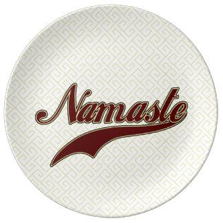 Namaste Stylish Red Burgundy Porcelain Plate