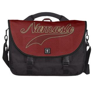 Namaste Stylish Red Burgundy square spiral pattern Computer Bag