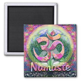 Namaste Tree of Life Peace Symbol Square Magnet