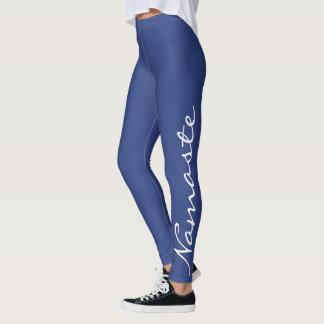 """Namaste"" Typography in White on Periwinkle Blue Leggings"