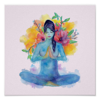 Namaste Watercolor Meditation | Poster