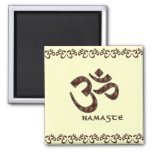 Namaste with Om Symbol Brown and Cream Magnet