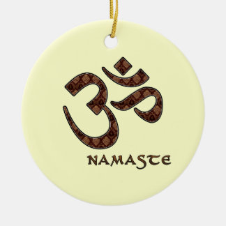Namaste with Om Symbol Brown and Cream Round Ceramic Ornament