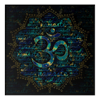 Namaste Word Art in Lotus with OM symbol