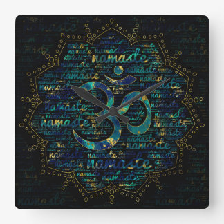 Namaste Word Art in Lotus with OM symbol Square Wall Clock