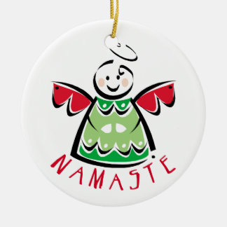 Namaste Yoga Christmas Ceramic Ornament