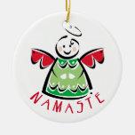 Namaste Yoga Christmas Round Ceramic Ornament