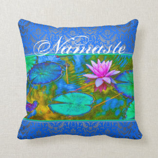Namaste Yoga Lotus Blossom and Damask Throw Pillow