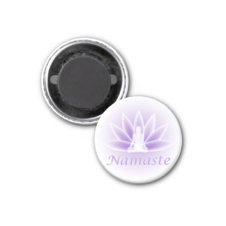 Namaste Yoga Lotus Woman Flower Violet Magnet