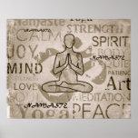 Namaste Yoga Love Charcoal Lotus Print