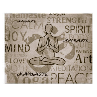 Namaste Yoga Love Charcoal Lotus Print