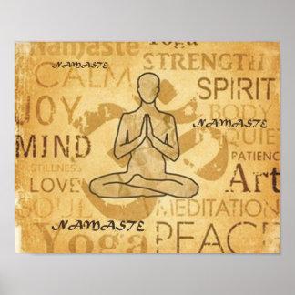 Namaste Yoga Love Golden Lotus Print