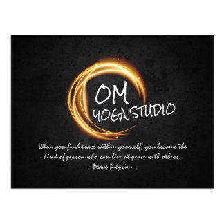 Namaste Yoga Meditation Quotes Black Gold ZEN Sign Postcard