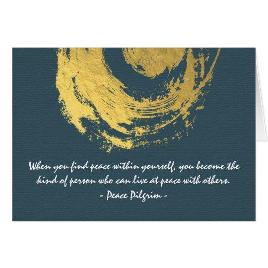 Namaste Yoga Meditation Quotes Blue Gold ZEN Sign Card