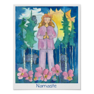 Namaste Yoga Wolf Owl Bear Wildlife Watercolor Poster