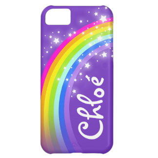 Name (5 letter) rainbow indigo purple iphone case