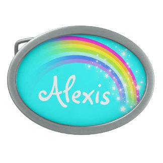 Name 6 letters rainbow aqua oval belt buckle