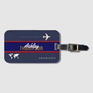 name & airplane for your air travel adventures luggage tag