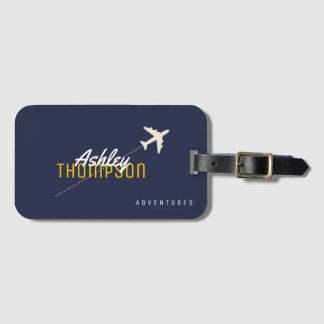 name & airplane for your travel adventures stylish luggage tag