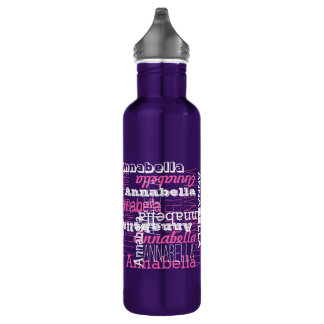 Name All Over Pink Text Collage Typographic 710 Ml Water Bottle