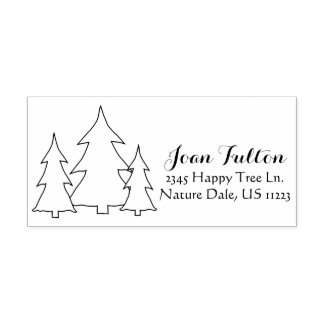 Name and Address Evergreen Pine Trees Illustration Rubber Stamp