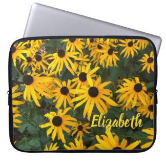 Name and Bright Yellow Black-Eyed-Susans Laptop Sleeve