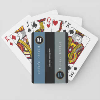name and initial on stripes, modern monogrammed playing cards