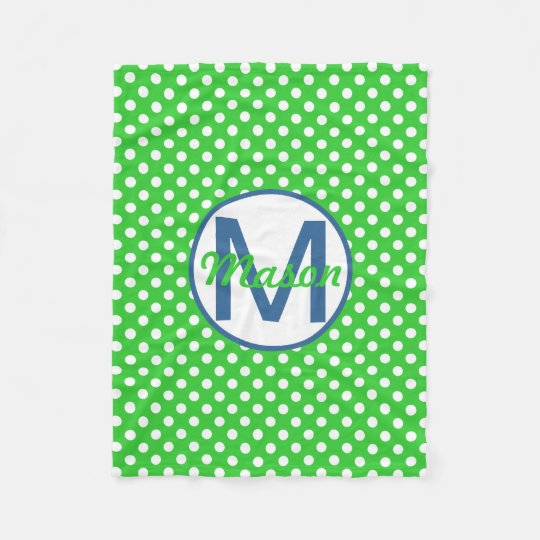Name and Initial, Polka Dots with Blue and Green Fleece Blanket