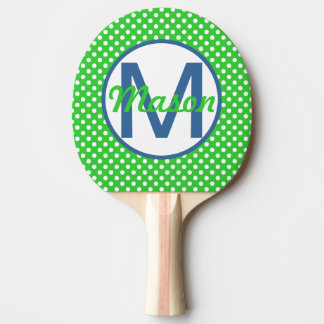 Name and Initial, Polka Dots with Blue and Green Ping-Pong Paddle