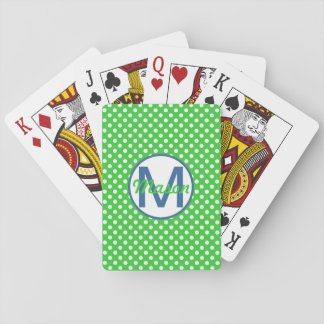 Name and Initial, Polka Dots with Blue and Green Playing Cards