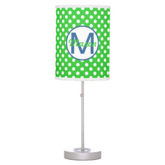 Name and Initial, Polka Dots with Blue and Green Table Lamp