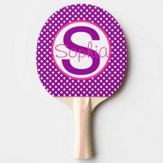 Name and Initial, Polka Dots with Pink and Purple Ping Pong Paddle