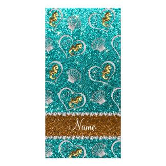 Name aqua glitter gold seahorses silver seashells photo card template