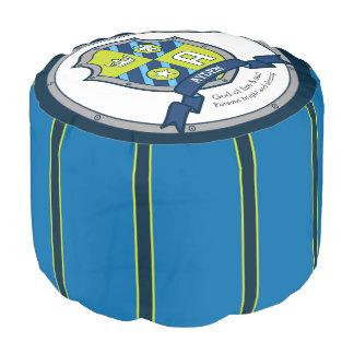 Name Ayden letter A blue crest boys round pouf