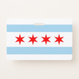 Name Badge with flag of Chicago City, USA
