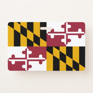 Name Badge with flag of Maryland State, USA