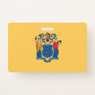 Name Badge with flag of New Jersey State, USA